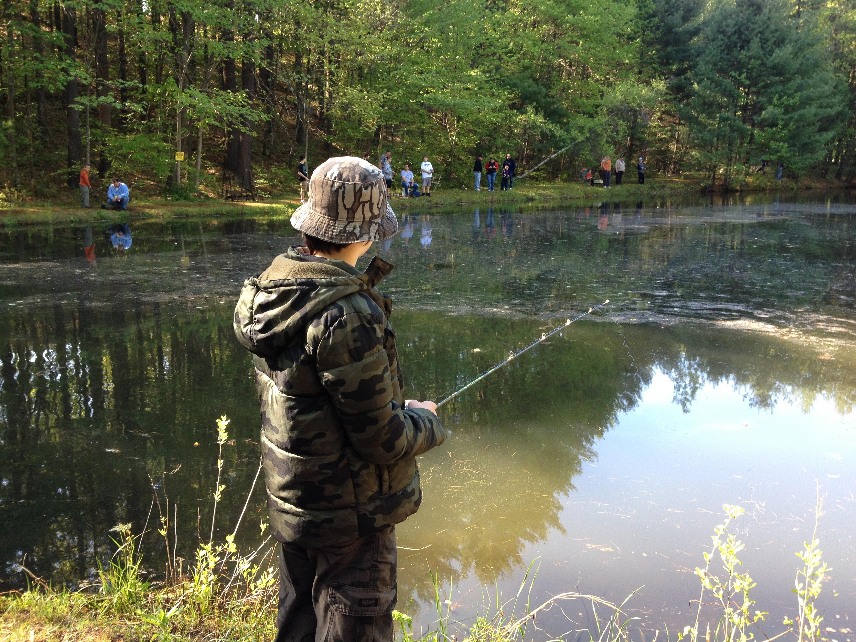 My son, Teddy, fishing.